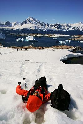 雪,女人,南极洲,冰,徒步旅行,气候,寒冷,风,一个人,环境