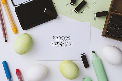 复活节,白色背景,绿色,平铺,幸福,毡尖笔,土耳其,美术工艺,字母,色彩鲜艳