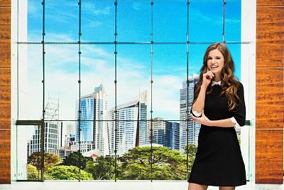 女商人,大厅,办公大楼,专业人员,25岁到29岁,现代,商业金融和工业,澳大利亚,仅女人,仅一个女人