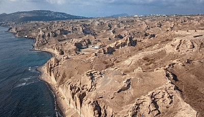 空的,希腊,沙子,圣托里尼岛,全景,悬崖,地形,海滩,航拍视角,著名景点