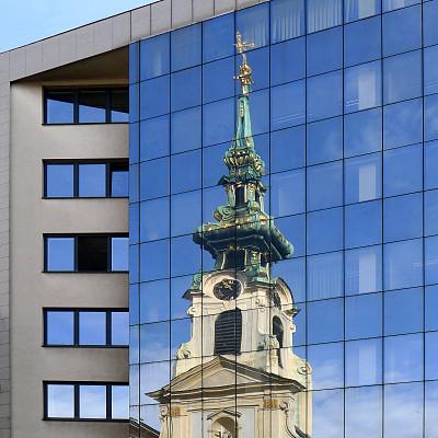 尖顶,维也纳,外立面,奥地利,图像,现代,无人,窗户,方形画幅