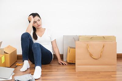在家购物,有序,电子邮件,部分,技术,泰国,现代,顾客,仅女人,仅一个女人