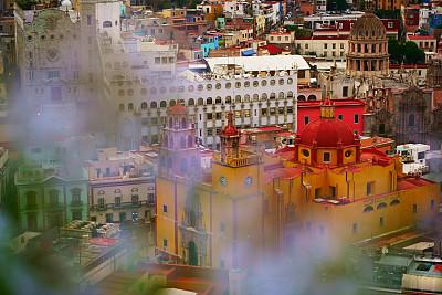 墨西哥,港尼奥托,全景,航拍视角,城市生活,世界遗产,仙人掌,色彩鲜艳,殖民地式