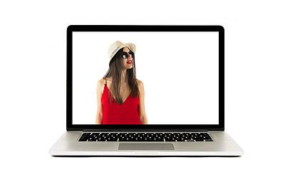 红色,女人,在家购物,专业人员,背景分离,图像处理,技术,现代,消息,三维图形