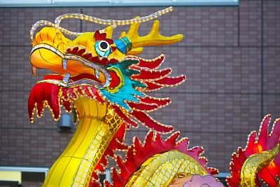 部分,中国龙,灯笼,中华街,月亮,新年前夕,户外,黄色,华丽的,传统