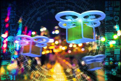 无人机,散焦,新加坡,城市天际线,物流,交通,技术,商业金融和工业,户外,建筑