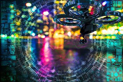 无人机,散焦,新加坡,交通,技术,现代,建筑,拍摄场景,互联网,安全的