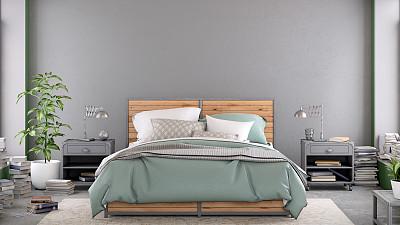 围墙,现代,室内,留白,卧室,空白的,瑞典,纽约,舒服,灰色