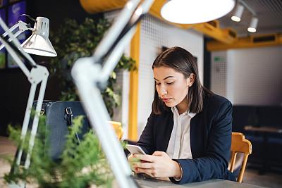 智能手机,女商人,餐馆,美,技术,现代,商业金融和工业,拿着,仅女人,多重任务