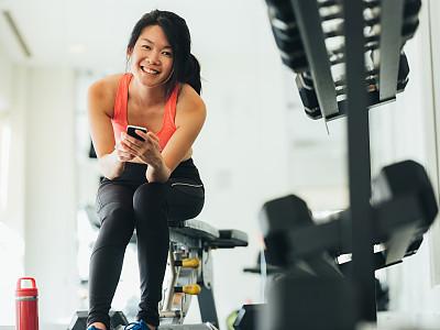 女人,健身房,青年人,活力,多伦多,运动,技术,中国人,仅女人,仅一个女人