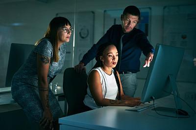 团队,部分,红结矶鹞,全部,专业人员,暗色,技术,现代,创作行业,办公室