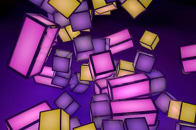 三维图形,积木,霓虹灯,立方体,数字化显示,有序,技术,复古风格,模板,大写字母