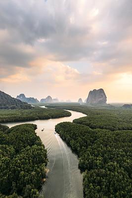 风景,黎明,攀牙府,航拍视角,热带气候,泰国,石灰石,无人机,河口,河流