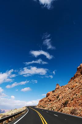 大峡谷,路,旅途,热,线条,沥青,山脊,云,公路