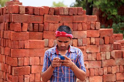 手机,少男,砖,肖像,技术,拿着,户外,印度,混凝土,看