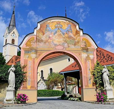 奥地利,古老的,匈牙利,建筑物门,屋顶,卡林斯亚,户外,天空,山谷