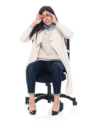 女性,青年人,办公椅,商务,背景分离,一个人,女性特质,椅子,女人