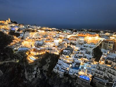 希腊,夜晚,圣托里尼岛,城镇,全景,菲拉,航拍视角,暗色,黄昏,地中海