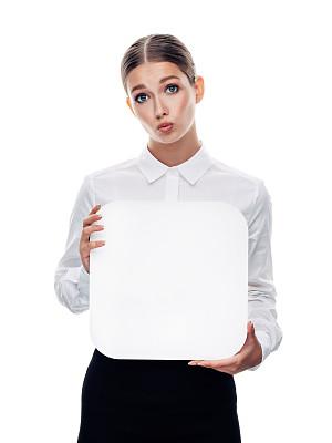 拿着,女商人,标志,白色,背景分离,肖像,商业金融和工业,影棚拍摄,仅女人,领导能力