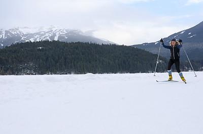 自然,青年女人,鳐,滑雪雪橇,山,活力,美国西北太平洋地区,运动,越野滑雪,雪山