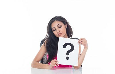 问号,女性,标志,自然美,白色,拿着,书桌,办公椅,商务,专业人员