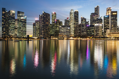 新加坡,市区,滨海湾 ,商务,城市生活,商用码头,海港,黄昏,现代,船