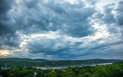 哈德森谷,哈德逊河,纽约,步行道路,在上面,达切斯县,云景,云,枝繁叶茂,高动态范围成像