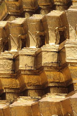 黄金,曼谷,玉佛寺,墙,户外,金色,黄色,式样,纹理,镀金的