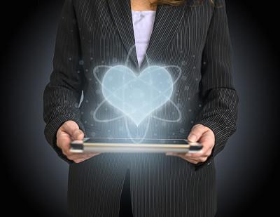 心型,图标,全息图,药丸,人类心脏,手,急救服务职业,专业人员