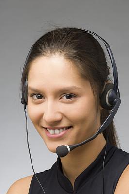 女人,耳麦,注视镜头,青年人,快乐,横截面,总机人员,打电话,工作