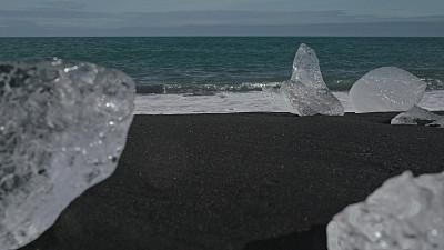冰河,海洋,海滩,钻石,高对比度,暗色,部分,纯净,云景,云
