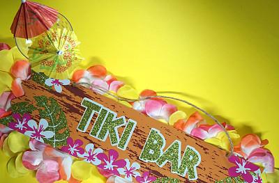 夏威夷大岛,化妆舞会服,华丽的,事件,太平洋岛屿,彩色背景,边框,塑料火烈鸟,玻利尼西亚,火烈鸟