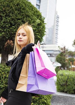 肖像,女人,顾客,购物中心,女孩,时尚,购物袋,美,中心,促销