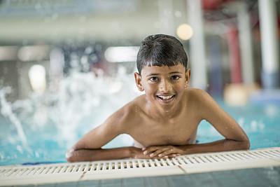 男孩,游泳池,亚洲人种,儿童,夏天,可爱的,湿,知识,幸福