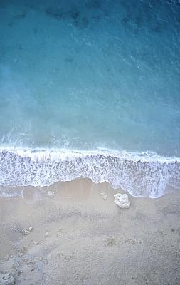 夏天,航拍视角,海滩,平衡折角灯,人,地形,户外,透明,金色,蓝色