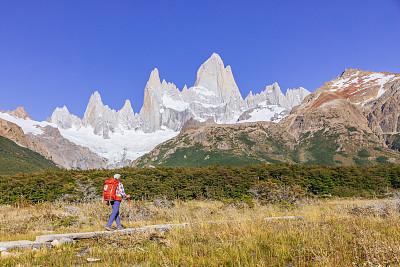 女人,徒步旅行,世界遗产,一个人,环境,雪,阿根廷,户外,全身像,旅行者