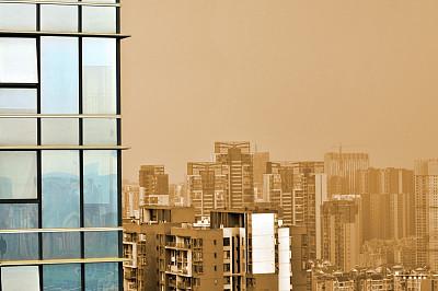 玻璃,建筑业,幕墙,黎明,气候,中间部分,华贵,顶部,云,现代