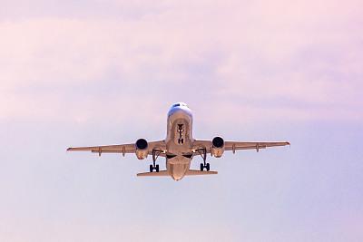 飞机,乘客,旅途,沥青,前面,云,黄昏,色彩鲜艳,柔和色,黄色