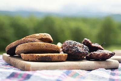 野餐,食品,户外,肉丸,横截面,切片食物,清新,饮食,保加利亚,图像