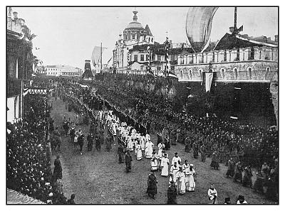 莫斯科,古董,葬礼,方形画幅,亚历山大三世桥,人,古老的,过去,悲哀,图像