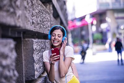 智能手机,路,青年女人,伦敦城,纹理效果,沥青,技术,从容态度,舞蹈,阴影