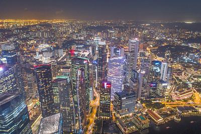 航拍视角,滨海湾 ,新加坡市,游艇码头,城市天际线,横截面,公亩,建筑外部,全部,金融