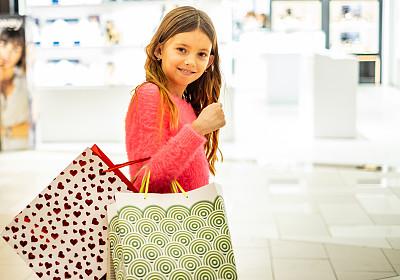 女孩,美,肖像,拿着,购物中心,儿童,顾客,人,女性,室内