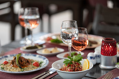 土耳其,食品,烤肉串,沙拉,长软椅,阿里,上菜,饮食,图像,水平画幅