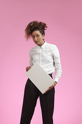 女人,标志,白色,商务,经理,态度,彩色背景,灵感,肖像,一个人