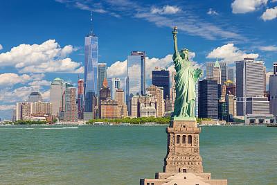 城市天际线,纽约州,曼哈顿金融区,美国,自由女神像,阿姆斯特丹世贸中心,纽约,纽约港,水,天空