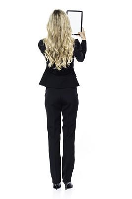 女商人,金色头发,药丸,商务,专业人员,计算机,背景分离,无法辨认的人,平板电脑