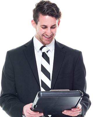 写字板,男商人,青年人,衣服,拿着,专业人员,背景分离,25岁到29岁,商业金融和工业