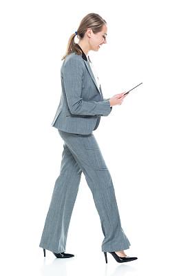平板电脑,拿着,女商人,套装,灰发,衣服,在活动中,商务,专业人员