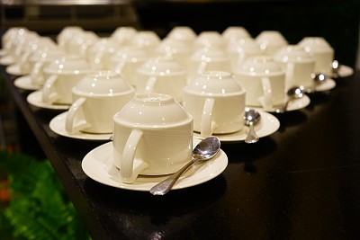 白色,咖啡杯,室内,瓷器,式样,干净,空的,成一排,堆,早晨